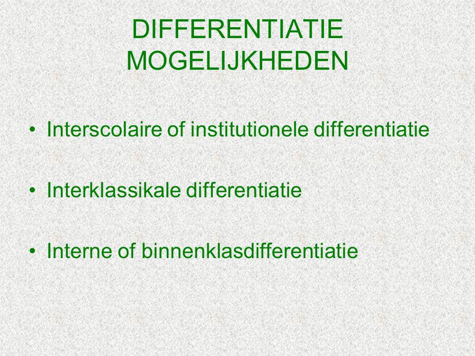 DIFFERENTIATIE MOGELIJKHEDEN Interscolaire of institutionele differentiatie Interklassikale differentiatie Interne of binnenklasdifferentiatie