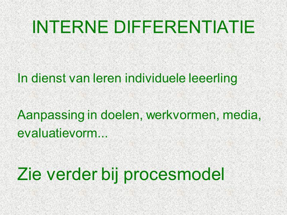 INTERNE DIFFERENTIATIE In dienst van leren individuele leeerling Aanpassing in doelen, werkvormen, media, evaluatievorm... Zie verder bij procesmodel