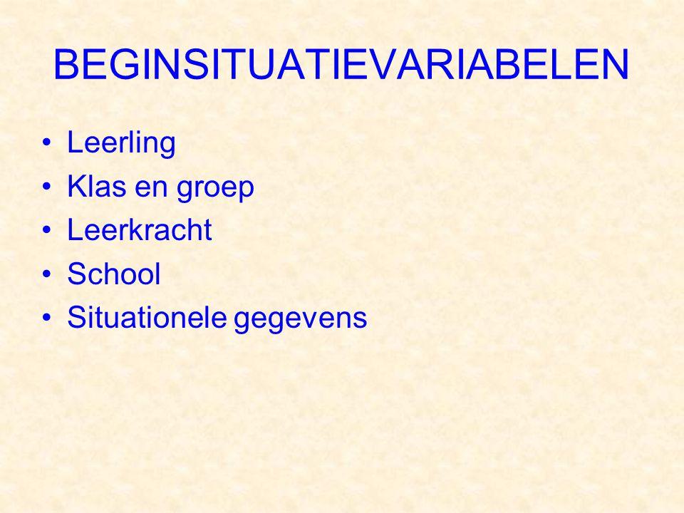 BEGINSITUATIEVARIABELEN Leerling Klas en groep Leerkracht School Situationele gegevens