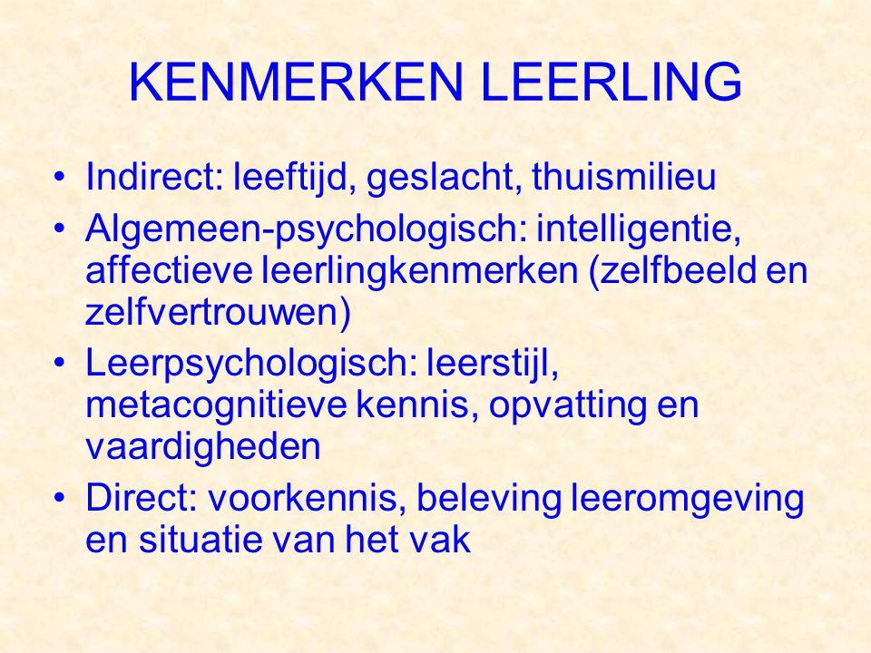 KENMERKEN LEERLING Indirect: leeftijd, geslacht, thuismilieu Algemeen-psychologisch: intelligentie, affectieve leerlingkenmerken (zelfbeeld en zelfver
