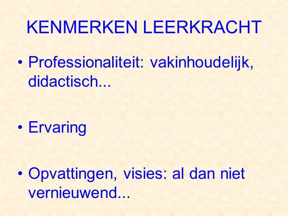 KENMERKEN LEERKRACHT Professionaliteit: vakinhoudelijk, didactisch... Ervaring Opvattingen, visies: al dan niet vernieuwend...