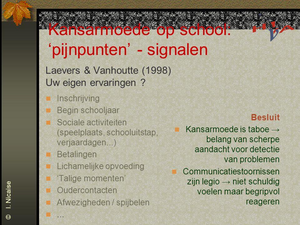 Kansarmoede op school: 'pijnpunten' - signalen Laevers & Vanhoutte (1998) Uw eigen ervaringen .