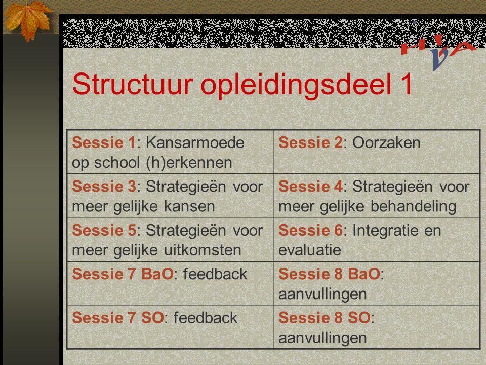 Structuur opleidingsdeel 1 Sessie 1: Kansarmoede op school (h)erkennen Sessie 2: Oorzaken Sessie 3: Strategieën voor meer gelijke kansen Sessie 4: Strategieën voor meer gelijke behandeling Sessie 5: Strategieën voor meer gelijke uitkomsten Sessie 6: Integratie en evaluatie Sessie 7 BaO: feedbackSessie 8 BaO: aanvullingen Sessie 7 SO: feedbackSessie 8 SO: aanvullingen