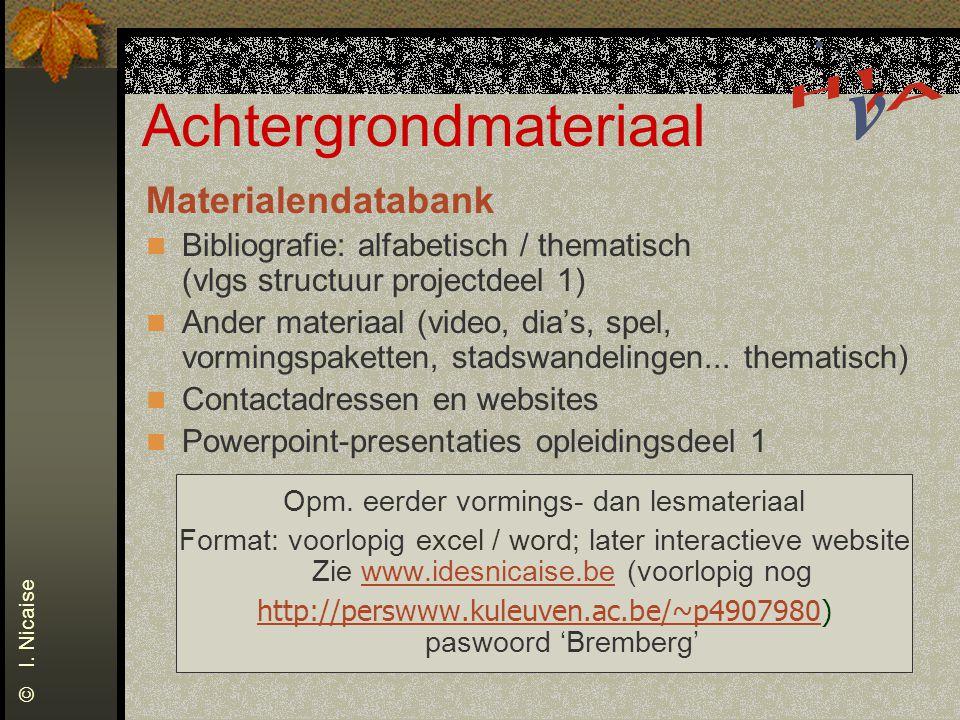 Achtergrondmateriaal Materialendatabank Bibliografie: alfabetisch / thematisch (vlgs structuur projectdeel 1) Ander materiaal (video, dia's, spel, vormingspaketten, stadswandelingen...