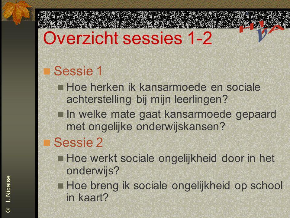 Overzicht sessies 1-2 Sessie 1 Hoe herken ik kansarmoede en sociale achterstelling bij mijn leerlingen.