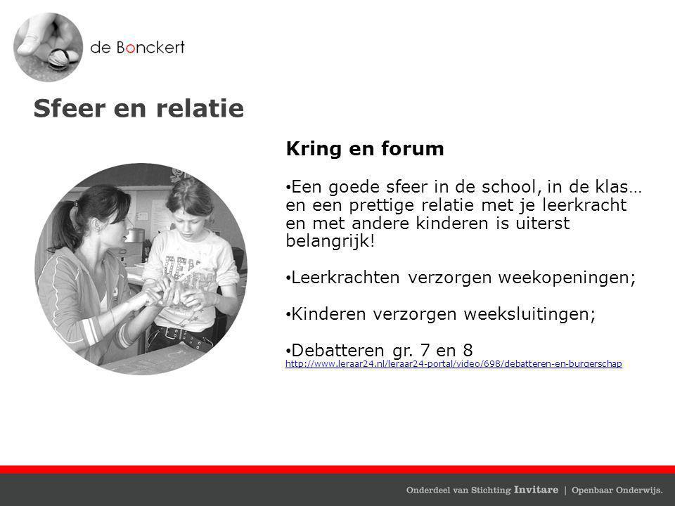 Sfeer en relatie Kring en forum Een goede sfeer in de school, in de klas… en een prettige relatie met je leerkracht en met andere kinderen is uiterst belangrijk.