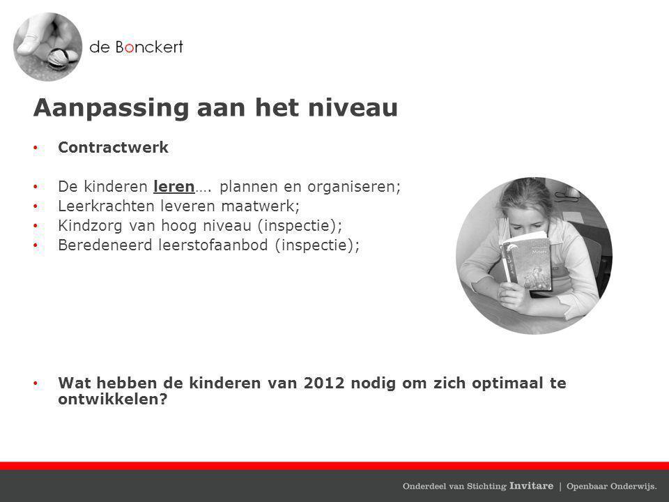 Aanpassing aan het niveau Contractwerk De kinderen leren….