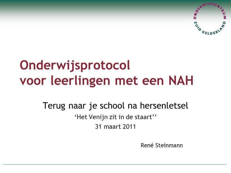 Onderwijsprotocol voor leerlingen met een NAH Terug naar je school na hersenletsel 'Het Venijn zit in de staart'' 31 maart 2011 René Steinmann