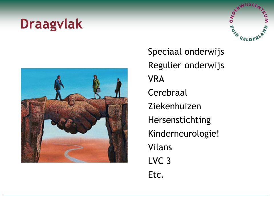 Draagvlak Speciaal onderwijs Regulier onderwijs VRA Cerebraal Ziekenhuizen Hersenstichting Kinderneurologie! Vilans LVC 3 Etc.