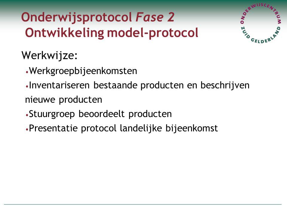 Onderwijsprotocol Fase 2 Ontwikkeling model-protocol Werkwijze: Werkgroepbijeenkomsten Inventariseren bestaande producten en beschrijven nieuwe producten Stuurgroep beoordeelt producten Presentatie protocol landelijke bijeenkomst
