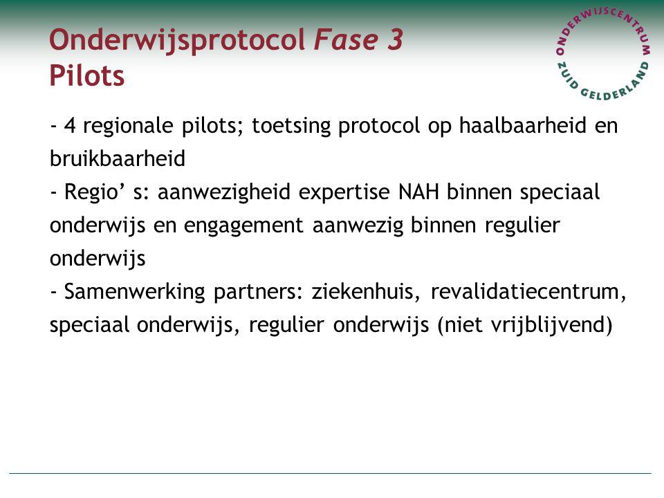 Onderwijsprotocol Fase 3 Pilots - 4 regionale pilots; toetsing protocol op haalbaarheid en bruikbaarheid - Regio' s: aanwezigheid expertise NAH binnen