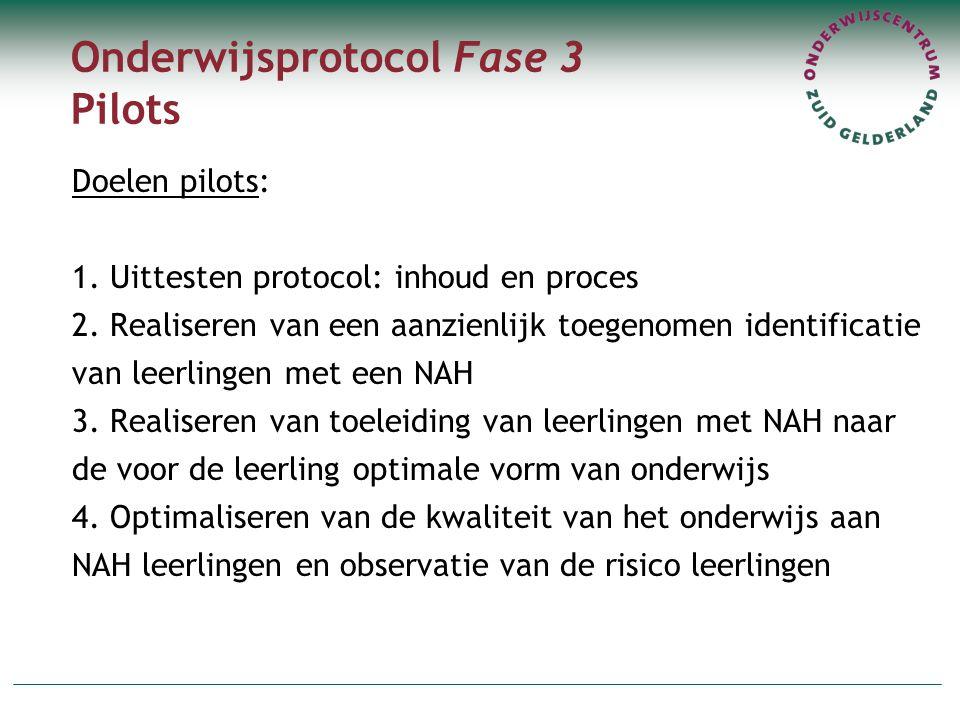 Onderwijsprotocol Fase 3 Pilots Doelen pilots: 1. Uittesten protocol: inhoud en proces 2. Realiseren van een aanzienlijk toegenomen identificatie van