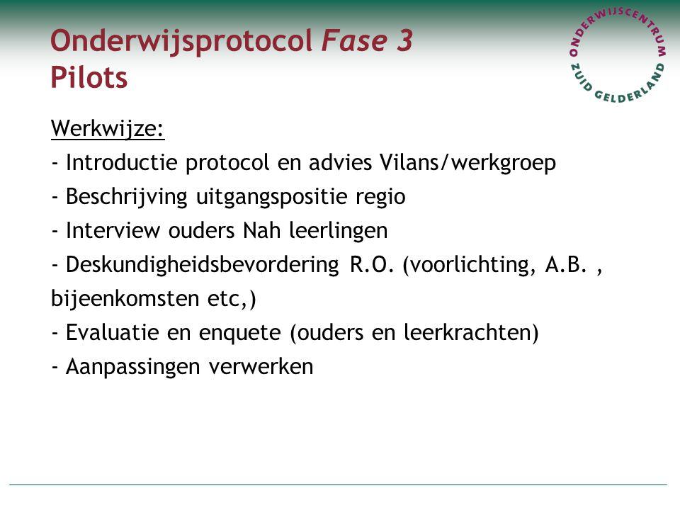 Onderwijsprotocol Fase 3 Pilots Werkwijze: - Introductie protocol en advies Vilans/werkgroep - Beschrijving uitgangspositie regio - Interview ouders N
