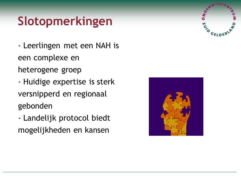 Slotopmerkingen - Leerlingen met een NAH is een complexe en heterogene groep - Huidige expertise is sterk versnipperd en regionaal gebonden - Landelijk protocol biedt mogelijkheden en kansen