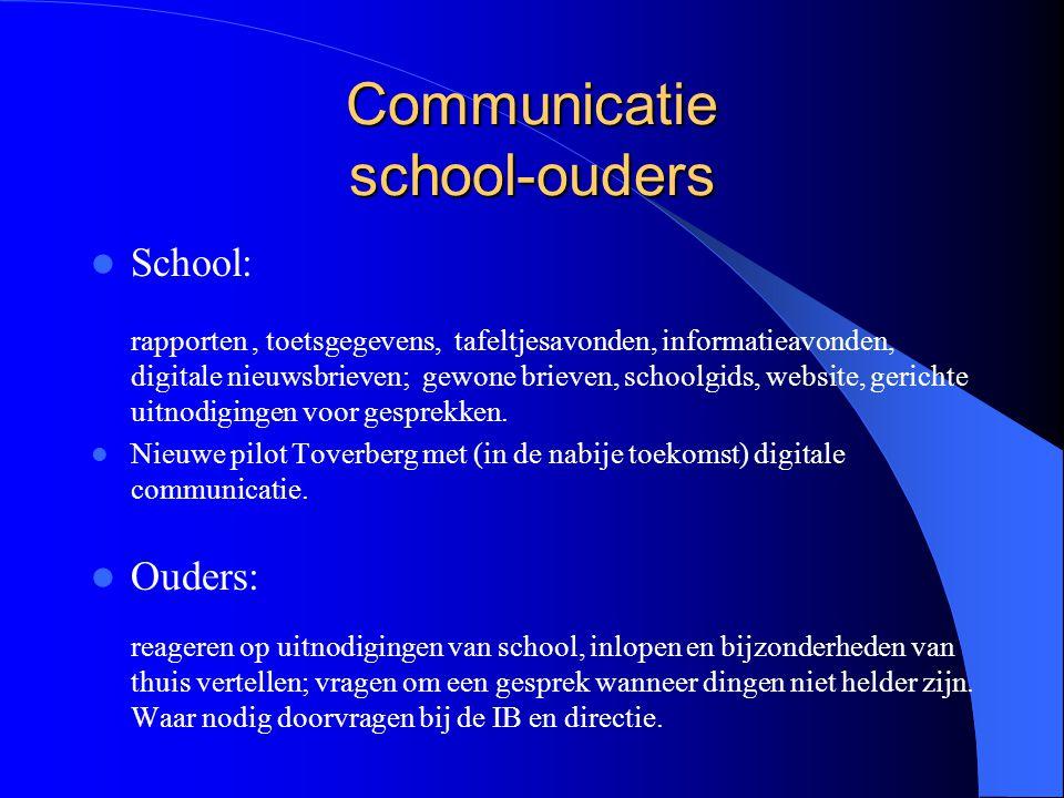 Communicatie school-ouders School: rapporten, toetsgegevens, tafeltjesavonden, informatieavonden, digitale nieuwsbrieven; gewone brieven, schoolgids,