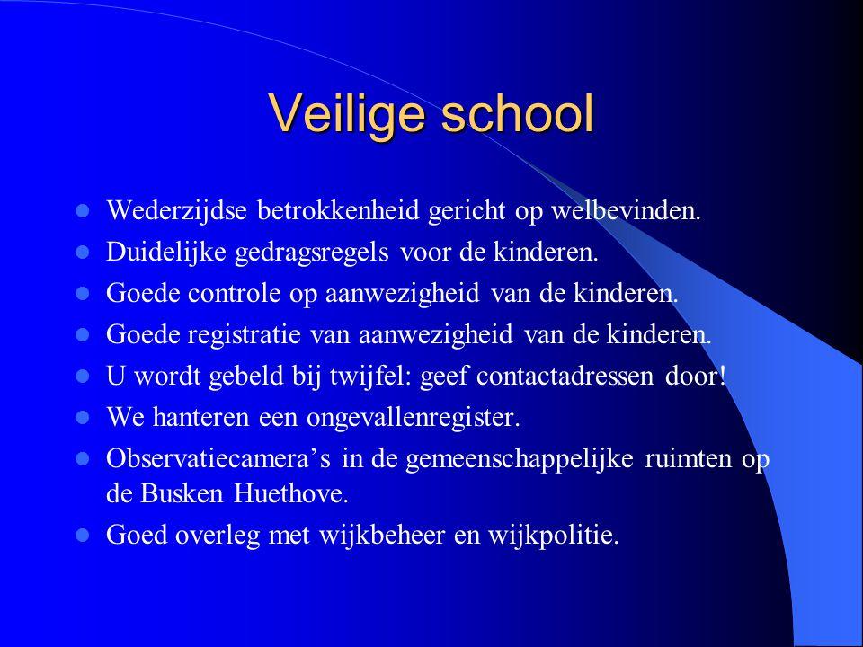Veilige school Wederzijdse betrokkenheid gericht op welbevinden. Duidelijke gedragsregels voor de kinderen. Goede controle op aanwezigheid van de kind