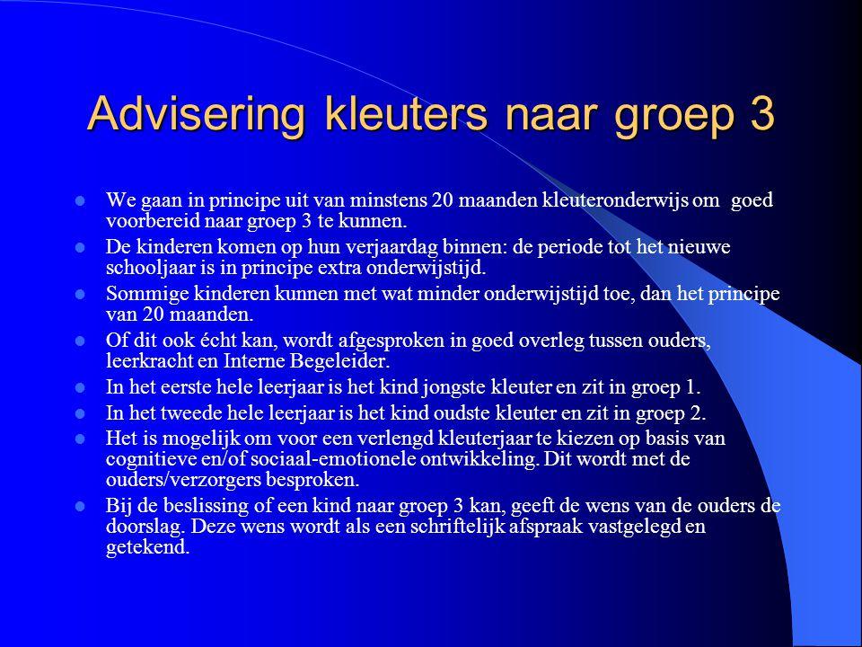 Advisering kleuters naar groep 3 We gaan in principe uit van minstens 20 maanden kleuteronderwijs om goed voorbereid naar groep 3 te kunnen. De kinder