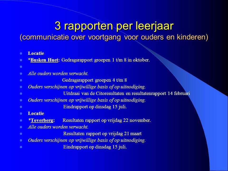 3 rapporten per leerjaar (communicatie over voortgang voor ouders en kinderen) Locatie *Busken Huet: Gedragsrapport groepen 1 t/m 8 in oktober. Alle o
