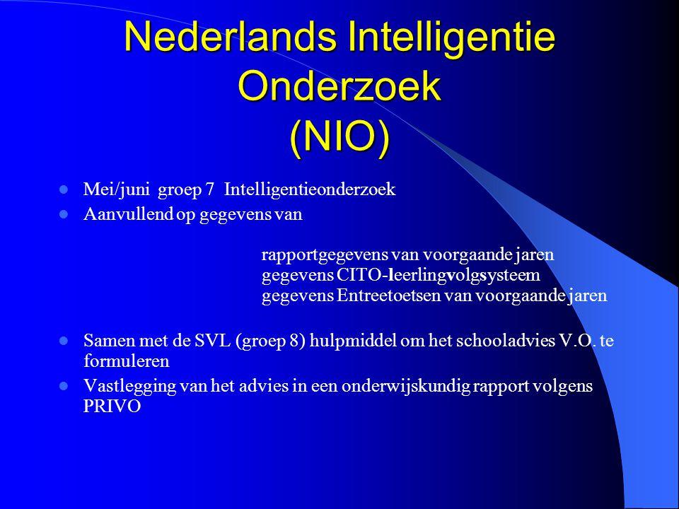 Nederlands Intelligentie Onderzoek (NIO) Mei/juni groep 7 Intelligentieonderzoek Aanvullend op gegevens van rapportgegevens van voorgaande jaren gegev