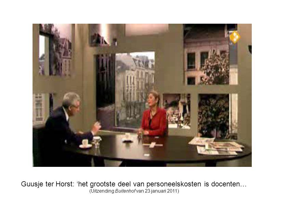 Guusje ter Horst: 'het grootste deel van personeelskosten is docenten… (Uitzending Buitenhof van 23 januari 2011)