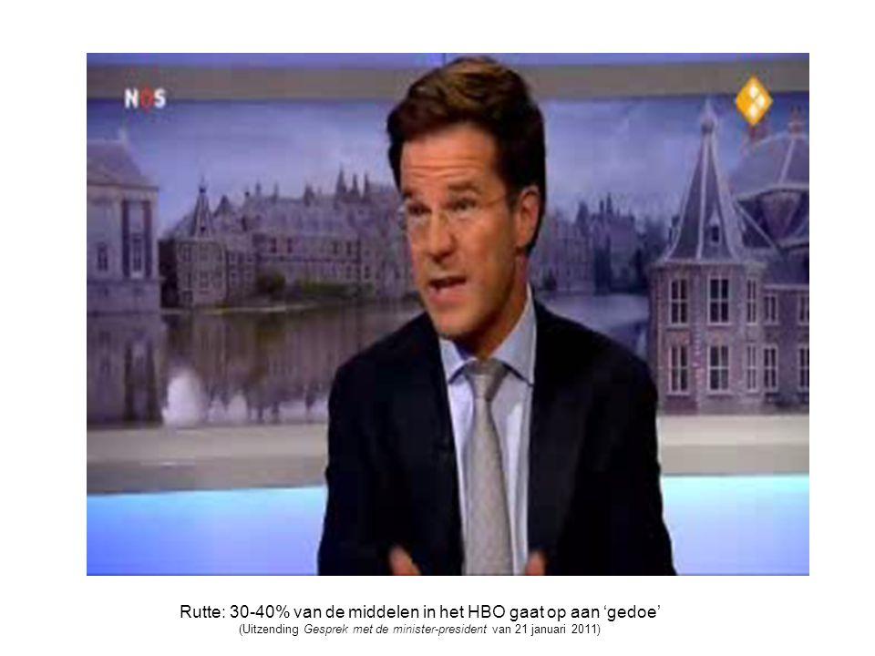 Rutte: 30-40% van de middelen in het HBO gaat op aan 'gedoe' (Uitzending Gesprek met de minister-president van 21 januari 2011)