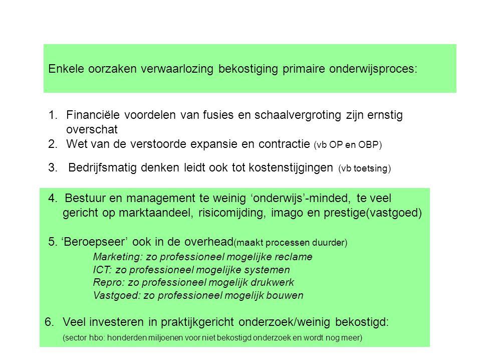 Enkele oorzaken verwaarlozing bekostiging primaire onderwijsproces: 1.Financiële voordelen van fusies en schaalvergroting zijn ernstig overschat 2.Wet