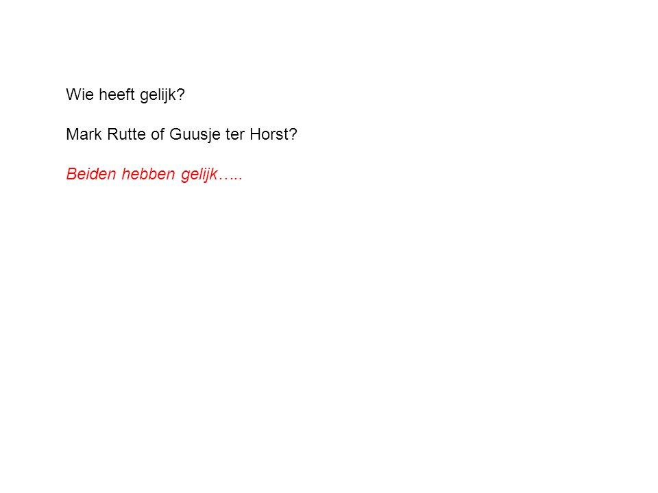 Wie heeft gelijk? Mark Rutte of Guusje ter Horst? Beiden hebben gelijk…..