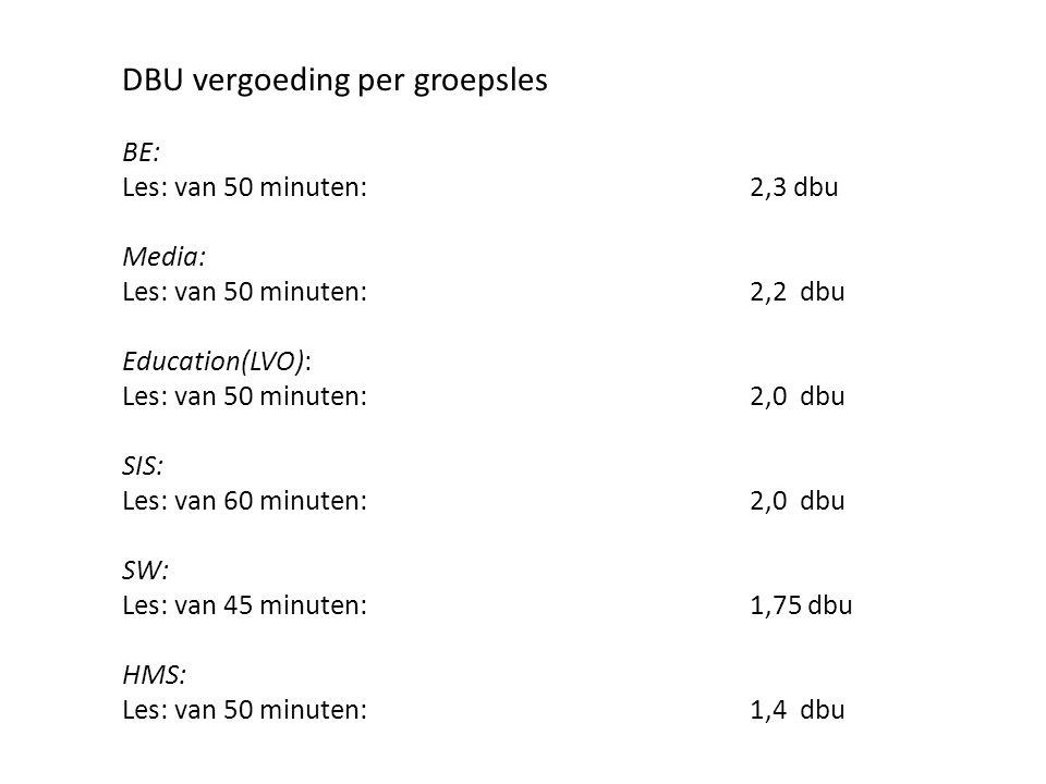 DBU vergoeding per groepsles BE: Les: van 50 minuten: 2,3 dbu Media: Les: van 50 minuten: 2,2 dbu Education(LVO): Les: van 50 minuten: 2,0 dbu SIS: Le