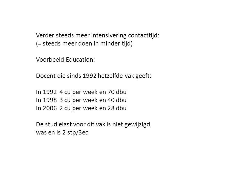 Verder steeds meer intensivering contacttijd: (= steeds meer doen in minder tijd) Voorbeeld Education: Docent die sinds 1992 hetzelfde vak geeft: In 1