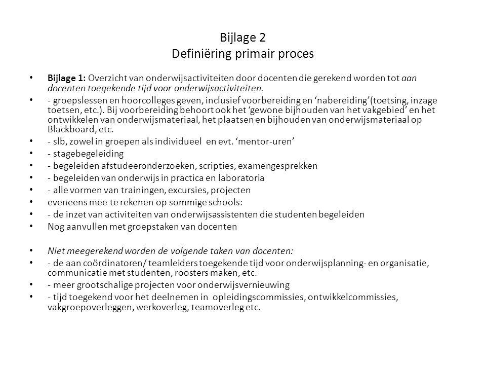 Bijlage 2 Definiëring primair proces Bijlage 1: Overzicht van onderwijsactiviteiten door docenten die gerekend worden tot aan docenten toegekende tijd