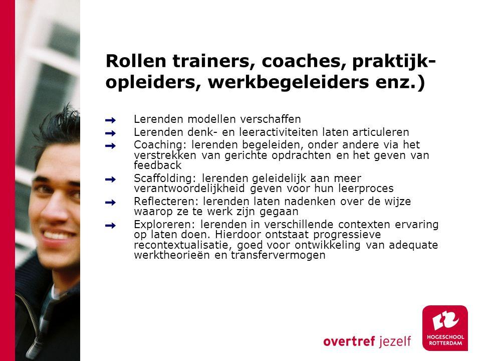 Rollen trainers, coaches, praktijk- opleiders, werkbegeleiders enz.) Lerenden modellen verschaffen Lerenden denk- en leeractiviteiten laten articulere