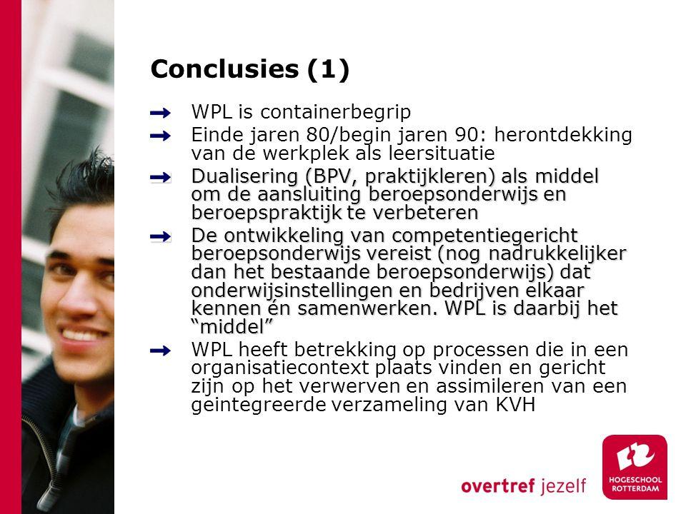 Conclusies (1) WPL is containerbegrip Einde jaren 80/begin jaren 90: herontdekking van de werkplek als leersituatie Dualisering (BPV, praktijkleren) a