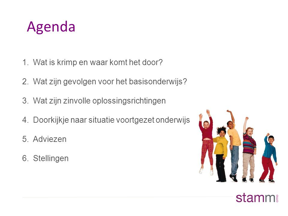 Agenda 1.Wat is krimp en waar komt het door.2.Wat zijn gevolgen voor het basisonderwijs.
