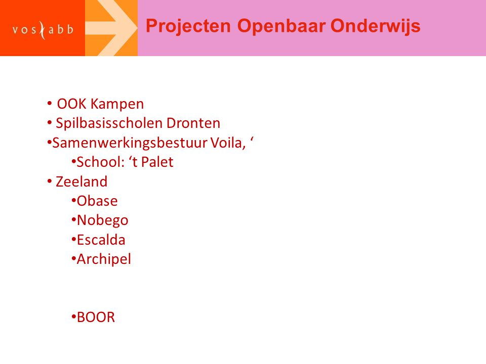 Projecten Openbaar Onderwijs OOK Kampen Spilbasisscholen Dronten Samenwerkingsbestuur Voila, ' School: 't Palet Zeeland Obase Nobego Escalda Archipel