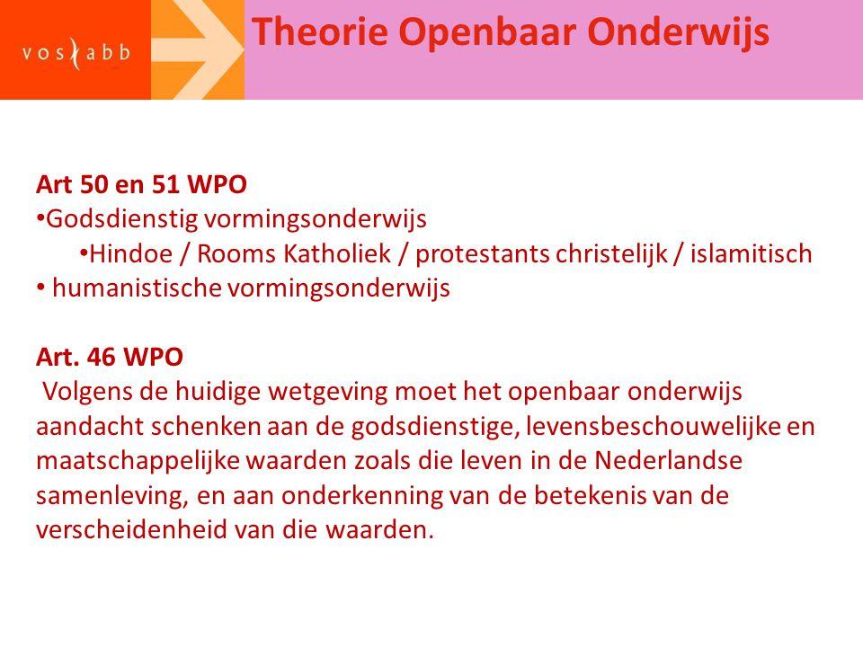 Theorie Openbaar Onderwijs Art 50 en 51 WPO Godsdienstig vormingsonderwijs Hindoe / Rooms Katholiek / protestants christelijk / islamitisch humanistis