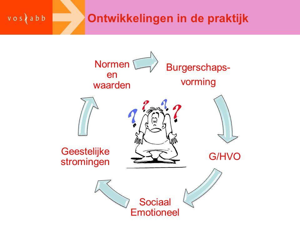 Ontwikkelingen in de praktijk Burgerschaps- vorming G/HVO Sociaal Emotioneel Geestelijke stromingen Normen en waarden