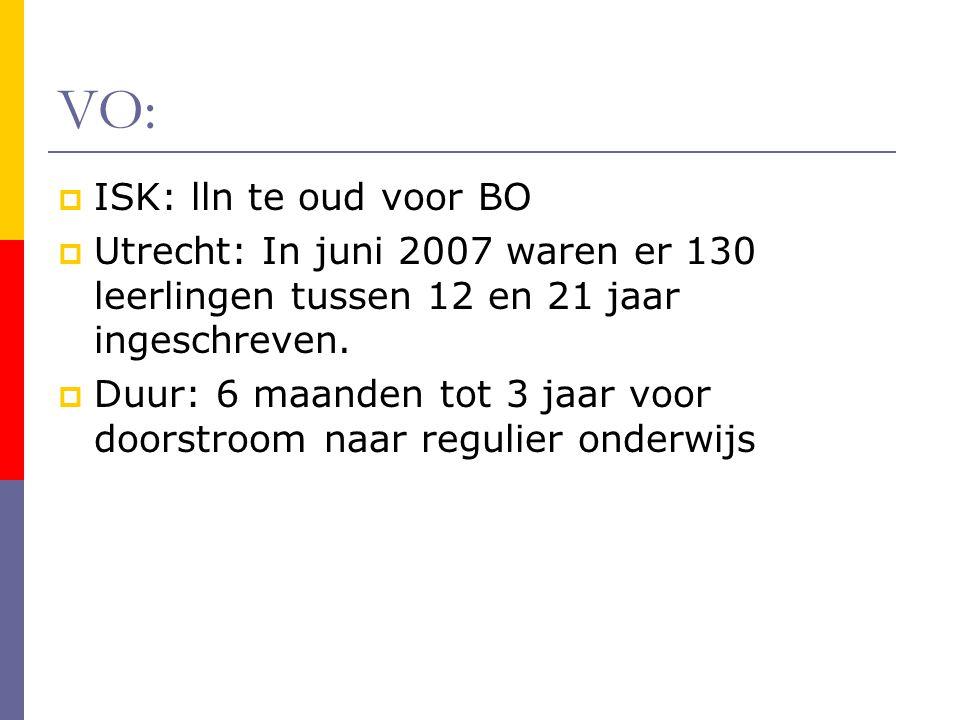 VO:  ISK: lln te oud voor BO  Utrecht: In juni 2007 waren er 130 leerlingen tussen 12 en 21 jaar ingeschreven.  Duur: 6 maanden tot 3 jaar voor doo