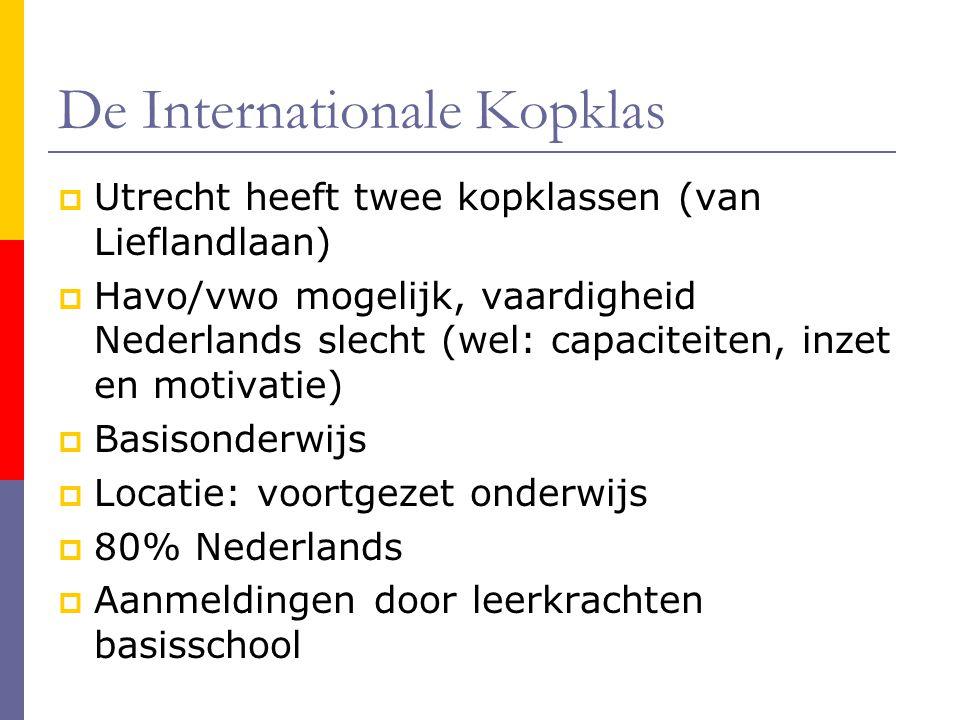 De Internationale Kopklas  Utrecht heeft twee kopklassen (van Lieflandlaan)  Havo/vwo mogelijk, vaardigheid Nederlands slecht (wel: capaciteiten, in