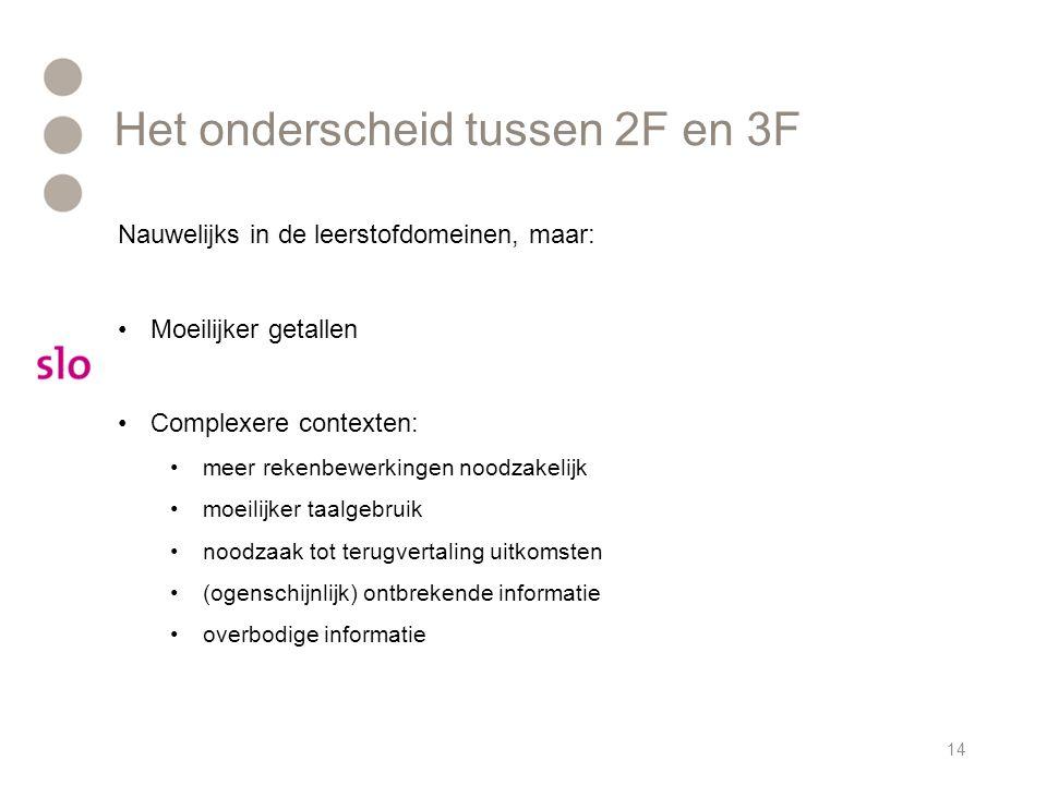 Het onderscheid tussen 2F en 3F 14 Nauwelijks in de leerstofdomeinen, maar: Moeilijker getallen Complexere contexten: meer rekenbewerkingen noodzakeli