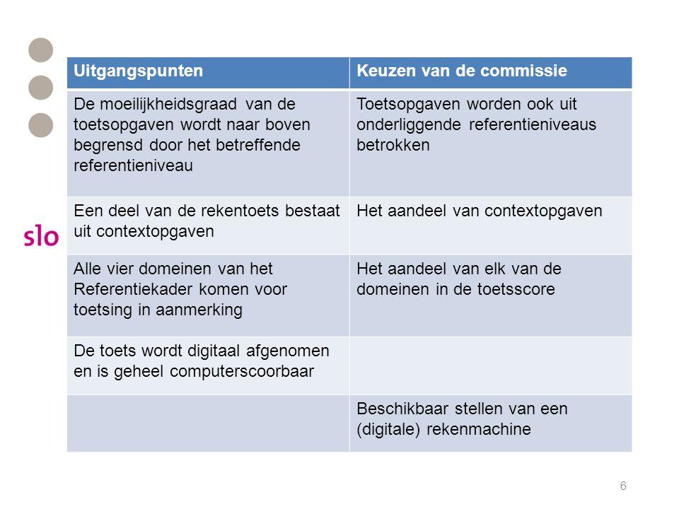 UitgangspuntenKeuzen van de commissie De moeilijkheidsgraad van de toetsopgaven wordt naar boven begrensd door het betreffende referentieniveau Toetso