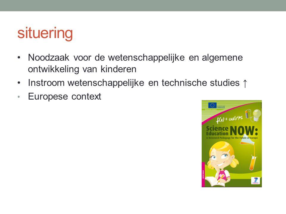 situering Noodzaak voor de wetenschappelijke en algemene ontwikkeling van kinderen Instroom wetenschappelijke en technische studies ↑ Europese context