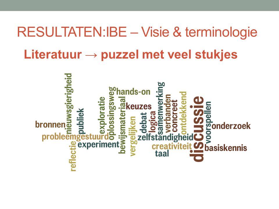 RESULTATEN: IBE – Visie & terminologie Vanuit betekenisvolle leersituaties helpt IBE leerlingen bij het ontwikkelen van:  Begrip van objecten en fenomenen (domeinkennis);  Onderzoeksvaardigheden (procesvaardigheden/ denkvaardigheden)  Wetenschappelijke attitudes (kritische houding, nieuwsgierigheid, creativiteit,…)  Attitudes tov wetenschappen, techniek e.a.