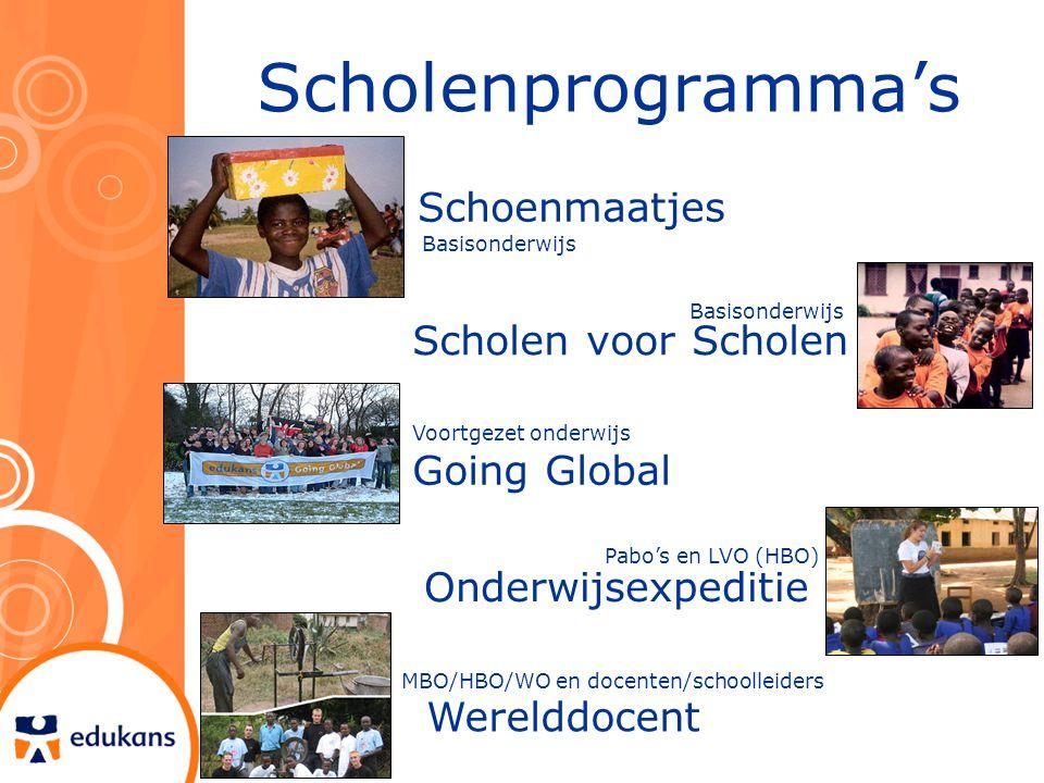 Scholenprogramma's Basisonderwijs Scholen voor Scholen Schoenmaatjes Voortgezet onderwijs Going Global Onderwijsexpeditie Pabo's en LVO (HBO) Werelddo