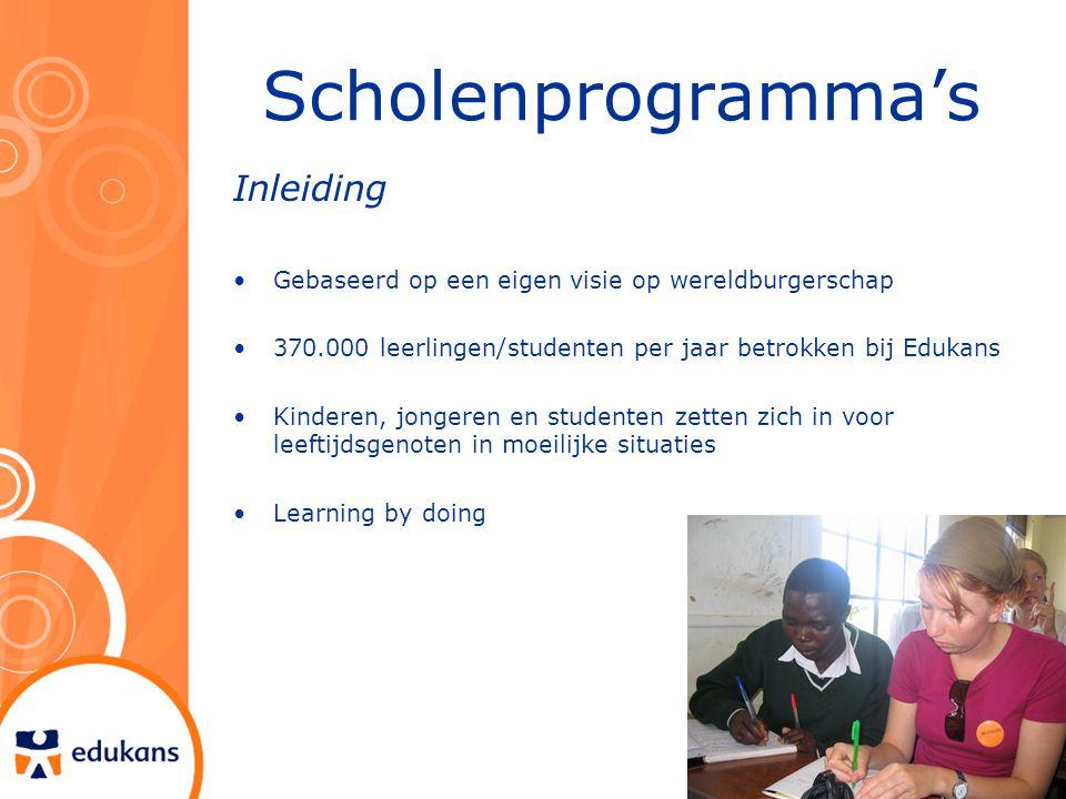 Scholenprogramma's Inleiding Gebaseerd op een eigen visie op wereldburgerschap 370.000 leerlingen/studenten per jaar betrokken bij Edukans Kinderen, j