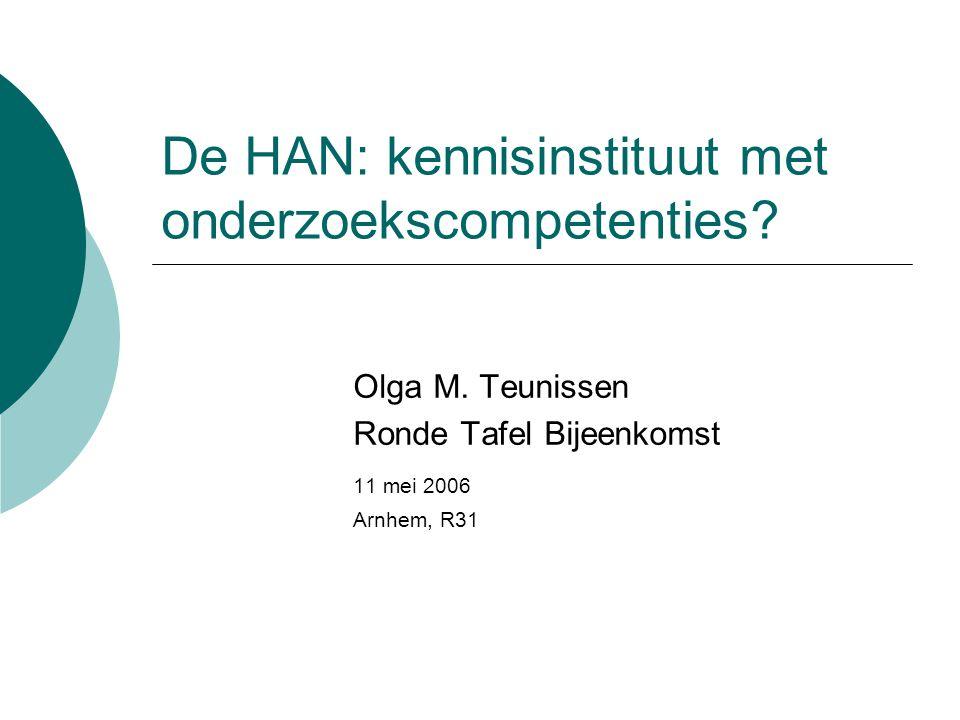De HAN: kennisinstituut met onderzoekscompetenties? Olga M. Teunissen Ronde Tafel Bijeenkomst 11 mei 2006 Arnhem, R31