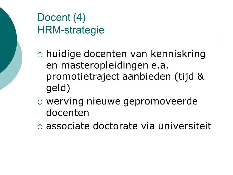 Docent (4) HRM-strategie  huidige docenten van kenniskring en masteropleidingen e.a. promotietraject aanbieden (tijd & geld)  werving nieuwe gepromo