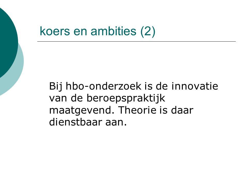 koers en ambities (2) Bij hbo-onderzoek is de innovatie van de beroepspraktijk maatgevend. Theorie is daar dienstbaar aan.