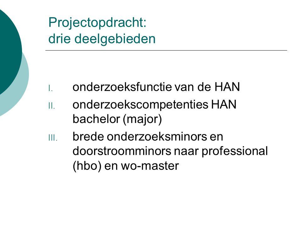 Projectopdracht: drie deelgebieden I. onderzoeksfunctie van de HAN II. onderzoekscompetenties HAN bachelor (major) III. brede onderzoeksminors en door