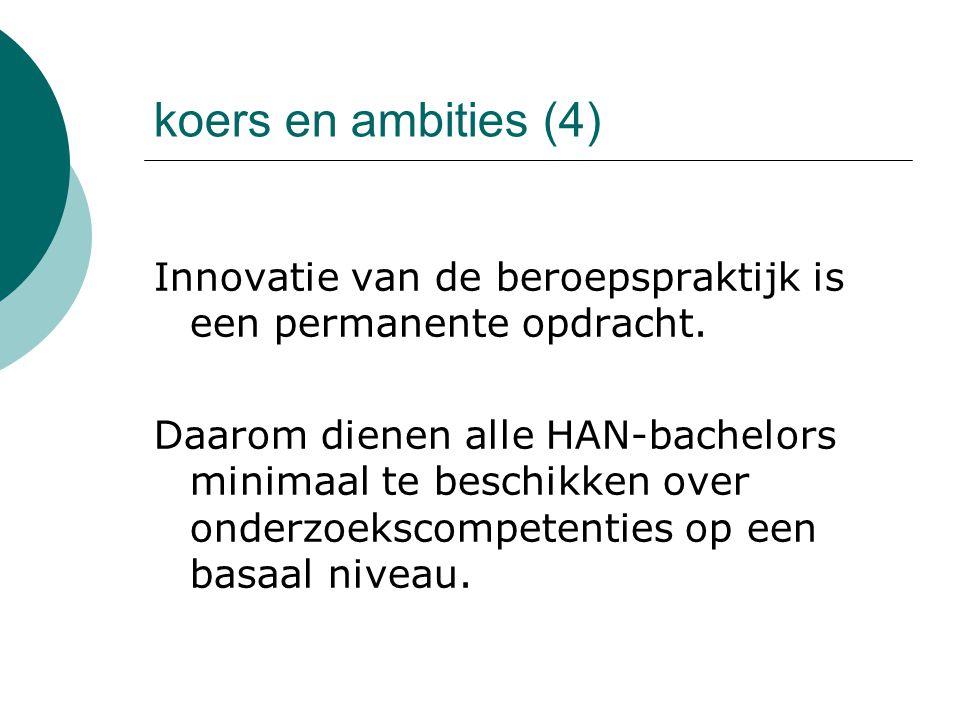 koers en ambities (4) Innovatie van de beroepspraktijk is een permanente opdracht. Daarom dienen alle HAN-bachelors minimaal te beschikken over onderz