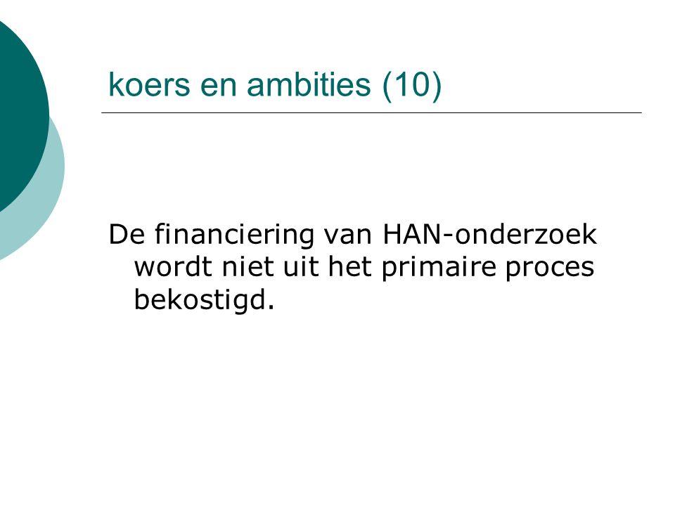 koers en ambities (10) De financiering van HAN-onderzoek wordt niet uit het primaire proces bekostigd.